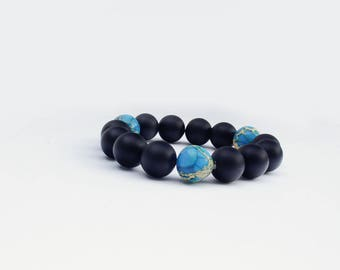 Trendy modern men accessory Onyx-Jasper Beads Bracelet