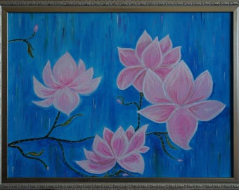 "Acrylic on Canvas Painting ""Magnolias"" - inspired by Belgian Impressionism"