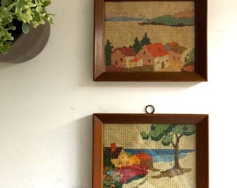 Vintage Cross Stitch Embroidery Needlepoint Landscapes Painting