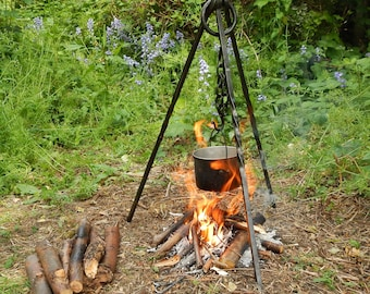 Hand Forged Campfire Cooking Tripod Set