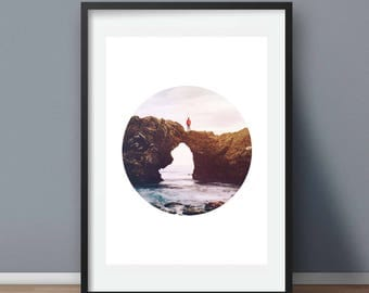 Coastal Beach Photo, Nautical Decor, Beach House Art, Ovesen Photos, Circle Print, Beach Art Decore, Photography wall art, Instant Download