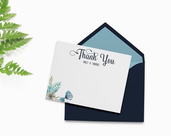 Wedding Thank You Cards Printable, Personalized Thank You Cards, Floral Thank You Cards, Wedding Thank You Template, Thank You Card Template