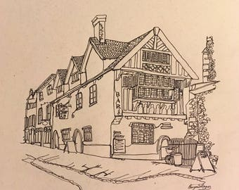 Belgium Monk Inn Norwich - Continuous one line drawing - PRINT