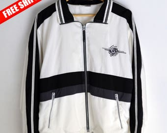 Windbreaker Energy S 90s windbreaker Vintage Windbreaker Bomber Vintage jacket men S Windbreaker women M L White windbreaker White jacket S