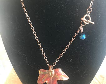 Real Copper Dipped Leaf Necklace