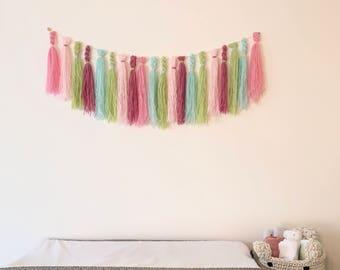 WATERMELON TASSEL BUNTING wall hanging mobile wall art wool baby room nursery baby shower gift