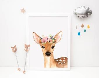 Woodland Animal Print // Doe Printable, Doe Wall Art, Family Room, Baby Girl Art, Play Room Art, Doe Wall Decor, Nursery Artwork