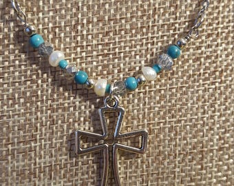Christian Jewelry: Cross Necklace, Glass Beads, Silver Chain, Pinterest Favorite, Top Sellers, Gifts