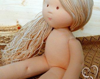 Waldorf Doll steiner doll Ragdoll With Blond Hair Doll With Long Hair 18 Inch Doll Without Clothes Organic Waldorf Doll Soft Doll Textile
