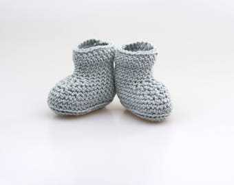 Grey shoes newborn, newborn booties, young baby, newborn, newborn Gechenk, baptism, baby photo, spring, autumn