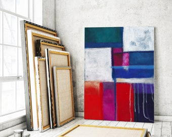 Large canvas art, Abstract Art, abstract painting, canvas print, canvas painting, red and blue abstract art, abstract canvas art