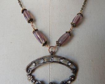 Edwardian Rhinestone Buckle Assemblage Lavalier Pendant Necklace