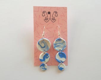 Blue and White Marbled/Tiered Drop Earrings