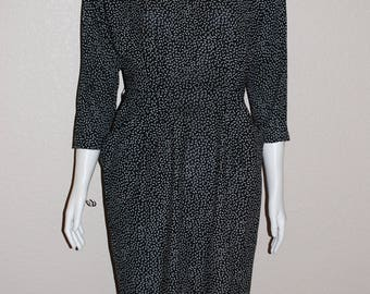Vintage 1980's Black Dress With White Polka Dots