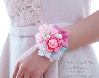 Pink, Wedding, Corsage, Wristband, Wrist Corsage, Bridesmaid, Mother, Fabric corsage, Jeweled corsage, Prom wristband, Prom corsage