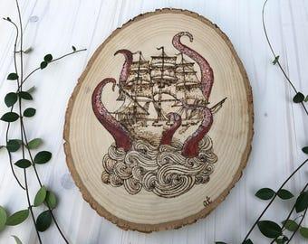 Ship and Kraken Woodburn; Nautical Pyrography Art