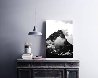 Mountains Poster, Printable Wall Art, Minimalist Art, Mountain Wall Art, Black And White Mountains, Scandinavian Art, Printable Poster