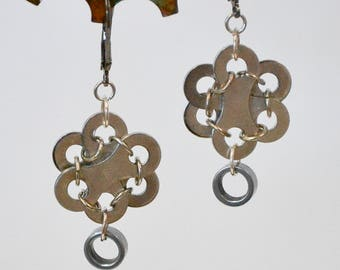 Unique Earrings - repurposed bike bicycle parts, chain links and rollers
