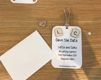 Save the date magnets - Scrabble tiles