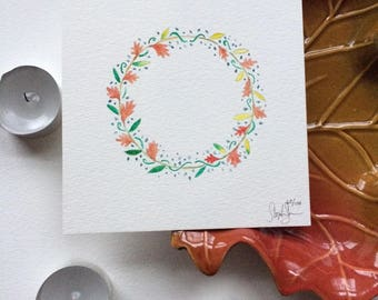 Fall Autumn Wreath Small Watercolor Painting