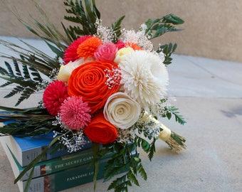 Tropical flower bouquet, Beach Wedding Bouquet, Orange and Pink Bouquet, Unique Wedding Bouquet, Sola Flower Bouquet, Wedding Bouquet