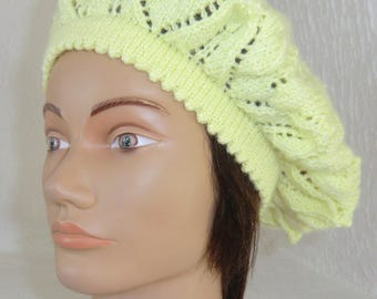 Beret - winter - summer Beret Hat - woman - girl - wool - light yellow color - pretty openwork pattern - hand knitted