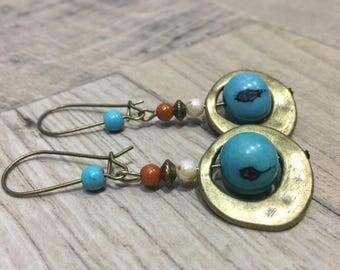 Earrings bronzes ethnic Acai seeds