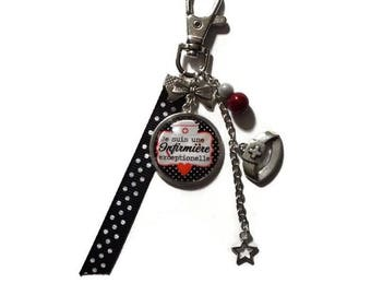 "Keychain / bag charm gift nurse ""I'm an exceptional nurse"" with glass cabochon"