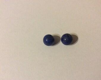 2 beads 8mm lapis lazuli semi-percees