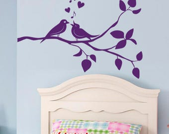 Branch with birds wall sticker, branch with birds wall decal decor, birds wall sticker removable vinyl animal birds wall art [AN004]