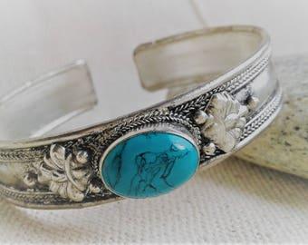 Ethnic cuff bracelet- Nepal  Tibet-bracelet Turquoise-Cuff bracelet