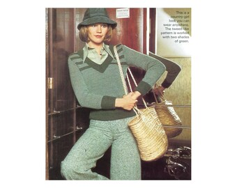 Classic Country Sweater Knitting Pattern - Two color V-neck Long sleeve Tweed Pullover