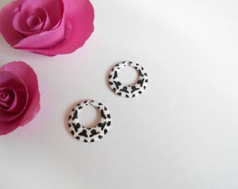 x 2 sequins white black 18 mm