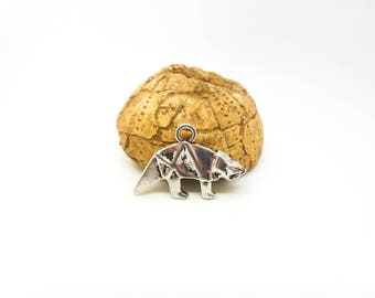 1 pendant 27 * 18mm antique silver (SF) Origami Animal