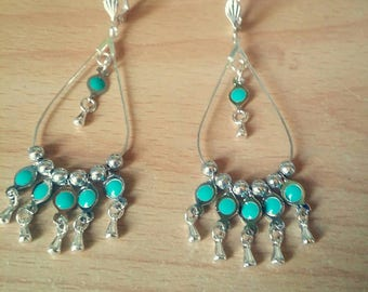 Earrings turquoise and silver beads