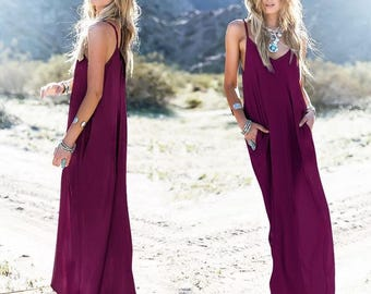 UK New Summer Purple Women's Dress Casual Loose Split Long Maxi Beach Long Dresses 6-16