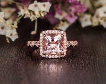 Unique Art Deco Ring Morganite Rose Gold Antique Women Bridal Princess Cut Engagement Ring Diamond Anniversary Halo Half Eternity Retro Ring