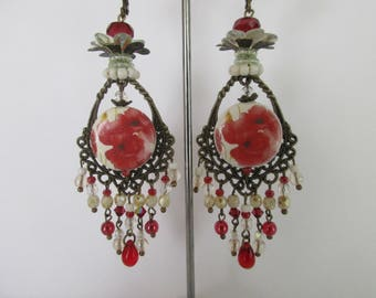 """Poppy"" tones red and off-white, Bohemian chandelier earrings, handmade porcelain beads and drops"