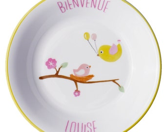 Plate porcelain child baby bird personalized - birth Nara porcelain christening gift