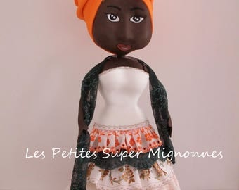 "Fofucha doll African ""Jason"" with her dress with ruffle"