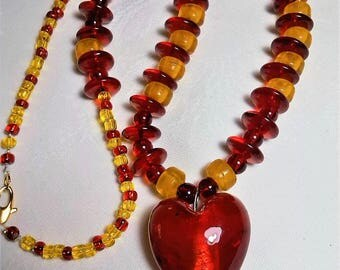 Red heart pendant necklace. Red and mustard yellow glass beads.  54 cm. Ideal RENTREE2017.  strips and drops yellow! GIFT.