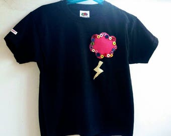 Kids T-shirt Semamori back stitch/ Cloud and lightning applique