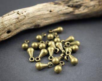 20 pcs - small drop pendant - brass - Bohemian ethnic, tribal, Nomad, Gypsy - 10mm x 4mm