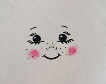 Doll face doll for textile design DIY Ragdoll, custom, doll making