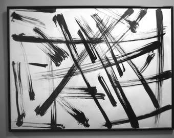 Strokes ink drawings, abstract original, black ink wall art