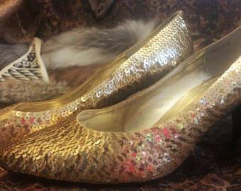 Gold Sequined Vintage Heels Size 9 1/2