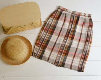 Vintage Linen Plaid Skirt