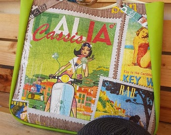 "Large tote / beach bag / shopping bag ""Italia"" vespa and woman pin up and lime green leatherette"