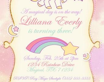 Magical Unicorn Birthday Party Invitation & More