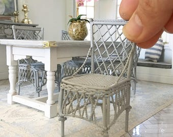 Miniature grey lattice chair - ornate - Dollhouse - Roombox - Diorama - 1:12 scale